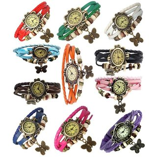 Glory Multicolour Leather Analog Watch for Women - Pack of 11