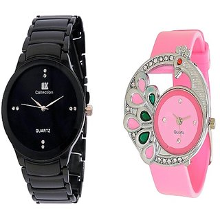 IIK Collection Men And Glory Peacock Pink PU Analog Couple Analog Watches For Men And Women