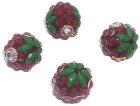 Shopindiakraft Takkar Work Glass Beads Round Green, 10 Pcs, Size 14 mm