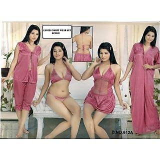 e5dab745f1225 Hot Sexy Sleep Wear 6p Bra Panty Open Top Capri Sheer Babydoll ...