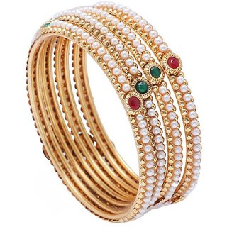 Jewels Galaxy Multicolor Gold-Plated Pearl Bangle Set Of 4 For Women/Girls