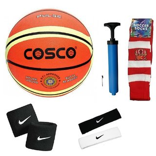 Cosco Pulse Basketball (Size-6) with Air Pump Head Band (2Pcs.) Free Pair of Wrist Band Soccer Socks