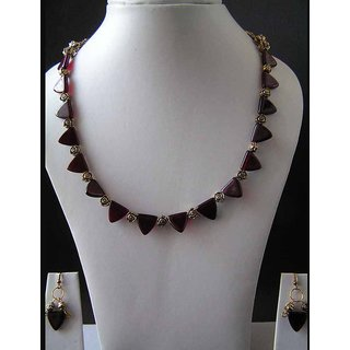 Pretty Necklace Pretty Necklace Made Of Garnet Red Glass Beads And Earrings