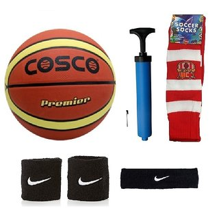 Cosco Premier Basketball (Size-7) with Air Pump Black Head Band Free Pair of Wrist Band Soccer Socks