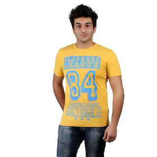 Numero Uno Graphic Print Men's Round Neck Yellow T-Shirt