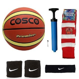 Cosco Premier Basketball (Size-5) with Air Pump Black Head Band Free Pair of Wrist Band Soccer Socks