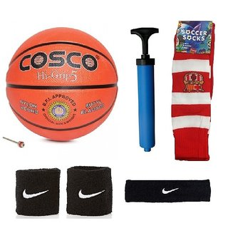 Cosco Hi-Grip Basketball (Size-5) with Air Pump Black Head Band Free Pair of Wrist Band Soccer Socks