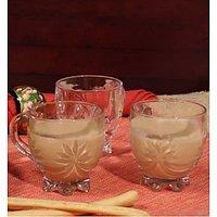 BlinkMax Glassware-Blinkmax Floral Tea Cups - Set Of 6 Cups-146 Ml Each