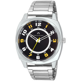 6c0ac16c47de Buy Swisstone FTREK027-BLK-CH Black Dial Stainless Steel Chain wrist watch  for Men Boys Online - Get 62% Off