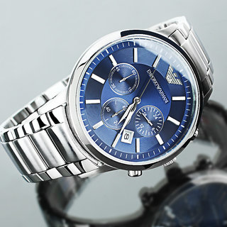 54e898063fd Emporio Armani Men  039 s AR2448 Classic Blue Dial Chronograph Watch ...