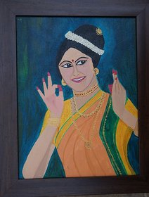 framed original acrylic painting on canvas of cheerful lady