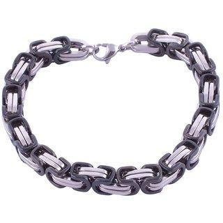 The Jewelbox Mens Boys Black Coated 316L Stainless Steel Geometric Bracelet