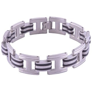 The Jewelbox Mens Boys Geometric 316L Stainless Steel Black Inlay Bracelet