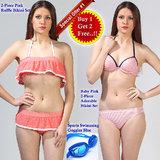 2-Piece Pink Ruffle Bikini Set