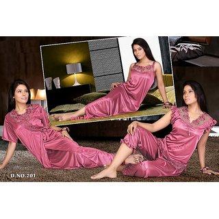 e4817a1d3b Hot Night Dress 4pc Top Capri Pant Nighty Over Coat 701 Onion Bed Set  Paypal E