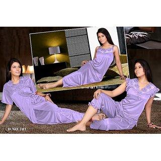Hot Night Dress 4pc Top Capri Pant Nighty  Over Coat 701 Purple Set Paypal Eid