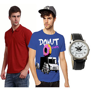 Set Of 1 Polo Neck T-shirt And 1 Round Neck T-shirt With Polo Watch SKCT 201