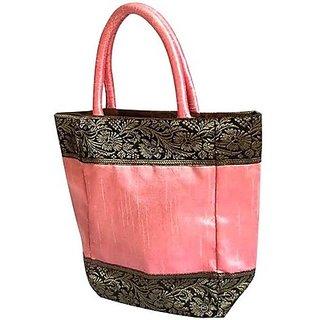 Indha Craft Zari Lace Hand-held Bag (Pink-06)