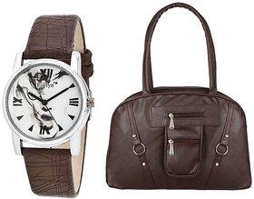 Evelyn Wrist Watch With handbag-LBBLK-417-10