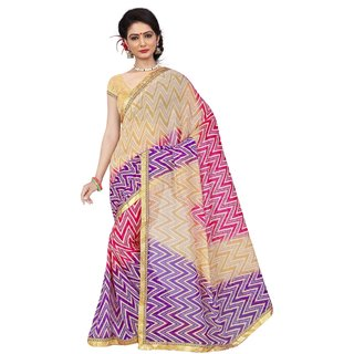 RK FASHIONS Purple Georgette Party Wear Printed Saree With Unstitched Blouse - RK236542