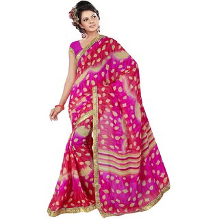 RK FASHIONS Pink Georgette Party Wear Printed Saree With Unstitched Blouse - RK236462