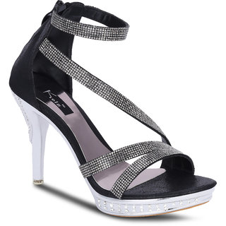 Kielz Girls Black Zip Heels ]F-2661-BLACK