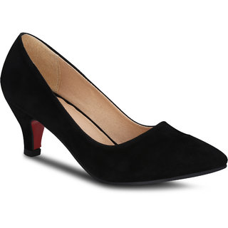 Kielz Girls Black Slip on Heels ]F-2617-S-BLACK