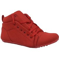 Hansx Girls Red Lace-up Casual Shoes GS-HNSX-1223Red
