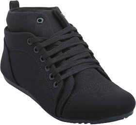 Hansx Girls Black Lace-up Casual Shoes GS-HANSX-1221BLACK