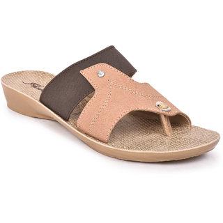 Action Shoes Florina Girlss BrownBeige Flats ]PL-3836-BROWN-BEIGE