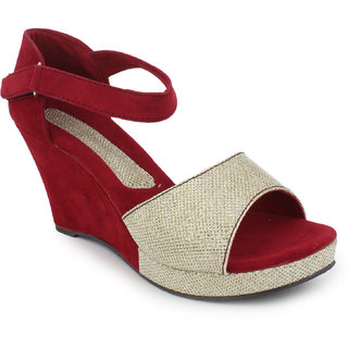 Hansx Girls Red Open Wedges GS-HNSX-I-4Red-Beige