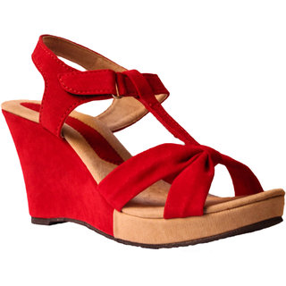 Hansx Girls Red Open Wedges GS-HNSX-WGS-92Red