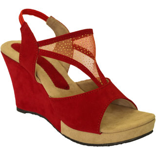 Hansx Girls Red Open Wedges GS-HNSX-WGS-95Red