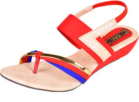 Trilokani Girls Red Open Sandals ]T137_RED