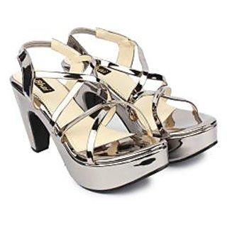 Do Bhai Girls Silver Velcro Wedges ]Glass-Silver