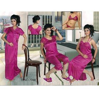 Rich Seductive Sleep Wear Set 6pc Bra Panty Top Capri Nighty  Over Coat Hot Bed / Night Set Gurlz 704