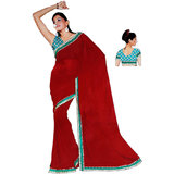 Delhi Art Chiffon Saree With Brocade Blouse, Red
