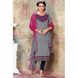 Off White & Pink Resham Embroidered Cotton Printed Salwar Suit