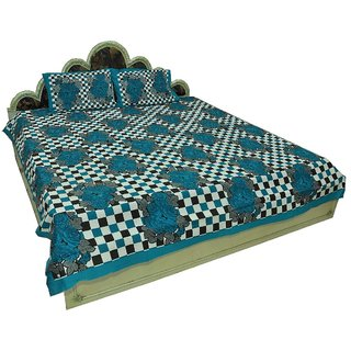 100 Cotton Traditional Checkered print Double Bedsheet with 2 Pillows SRA2431