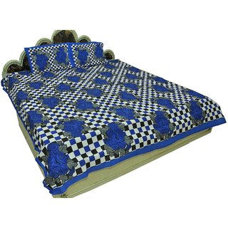 100 Cotton Traditional Checkered print Double Bedsheet with 2 Pillows  SRA2433