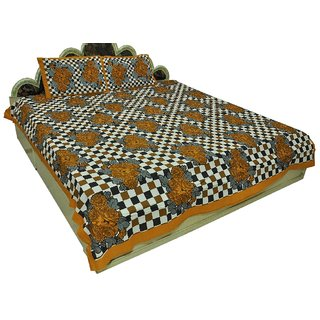 100 Cotton Traditional Checkered print Double Bedsheet with 2 Pillows  SRA2434