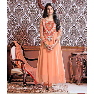 Amyra Creations Orange Embroidered Faux Georgette Dress Material