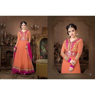 Amyra Creations Orange Embroidered Pure Georgette Dress Material