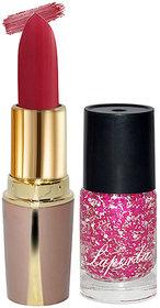Laperla Combo Pack Hot Red Lipstick  Pink Nail Polish