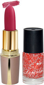 Laperla Combo Pack Hot Pink Lipstick  Red Nail Polish