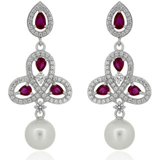 Joal Rhodium Plated Red Silver Earings For Women