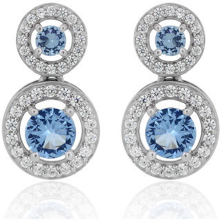 Joal Rhodium Plated Blue Silver Earings For Women