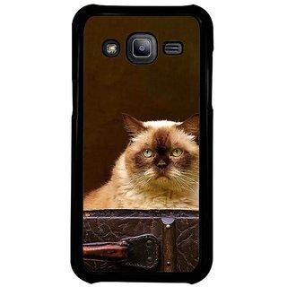 Fuson Designer Phone Back Case Cover Samsung Galaxy J2 -2015 ( Cat Locked Inside )