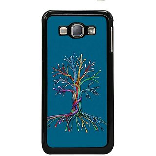 Fuson Designer Phone Back Case Cover Samsung Galaxy J1- 2016( Colourful Tree From Twisted Lines )