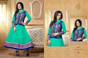 Amyra Creations Green Embroidered Faux Georgette Dress Material (Unstitched)